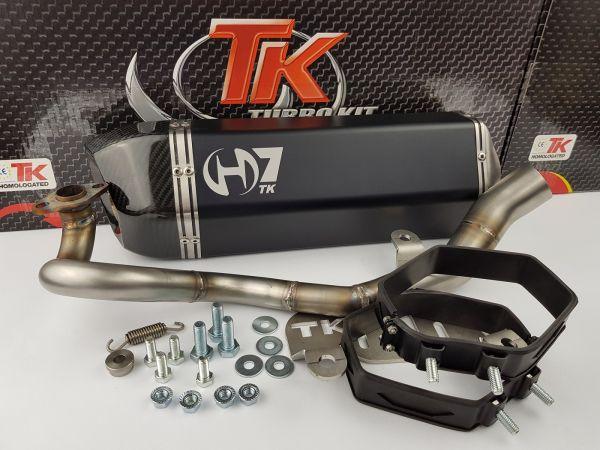Turbo Kit H7 Carbon Edelstahl Sport Auspuff Yamaha N-Max Nmax 125 ab16