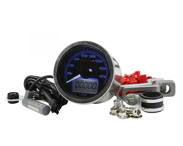 Tachometer D64 Eclipse Style max 260 km/h Schwarz Analog Roller ATV