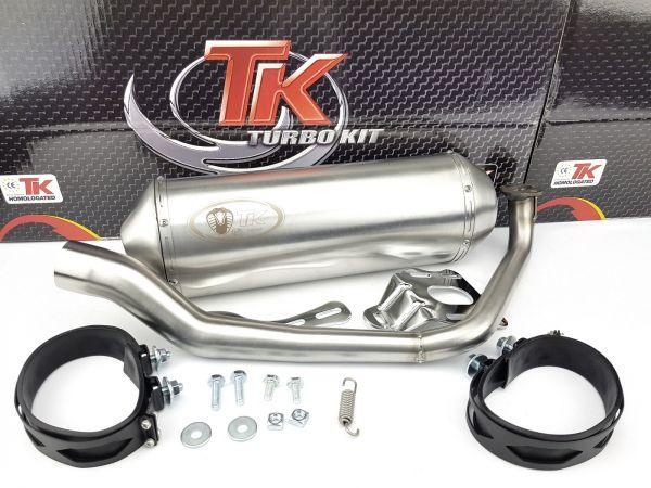 Edelstahl Turbo Kit TK Sport Auspuff für SYM HD 125 EVO LC 4 Takt 4T