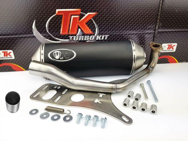 Turbokit Edelstahl Sport Auspuff mit KAT Peugeot Django 125i E3 E4 125