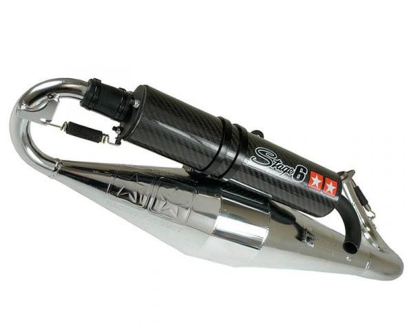 Auspuff STAGE6 PRO Replica Chrom/Carbon Yamaha Minarelli liegend 50