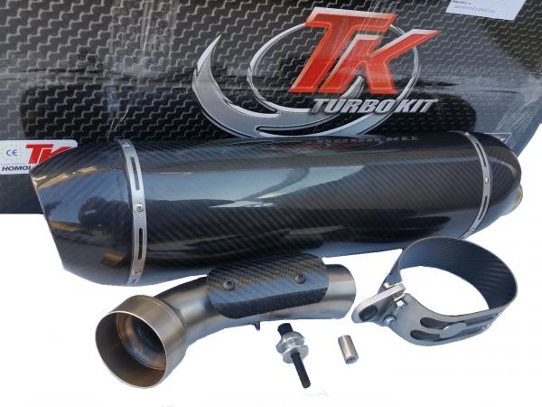 Turbo Kit SLIP-ON Edelstahl Carbon Oval Auspuff BMW R 1200 GS ab 2014