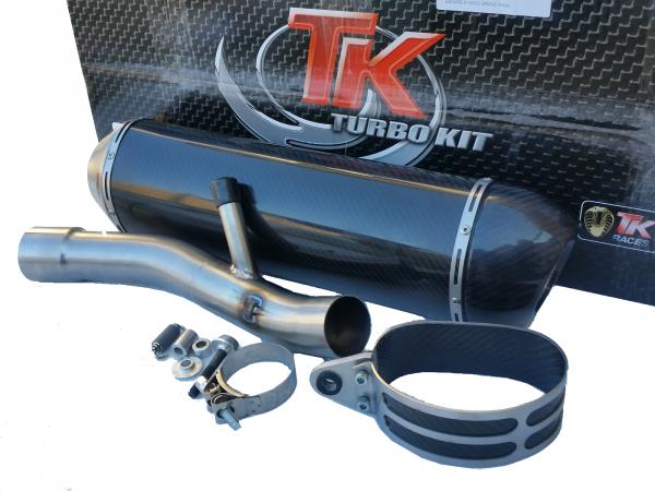 Turbo Kit SLIP-ON Edelstahl Carbon Oval Auspuff BMW R 1200 GS 04-09