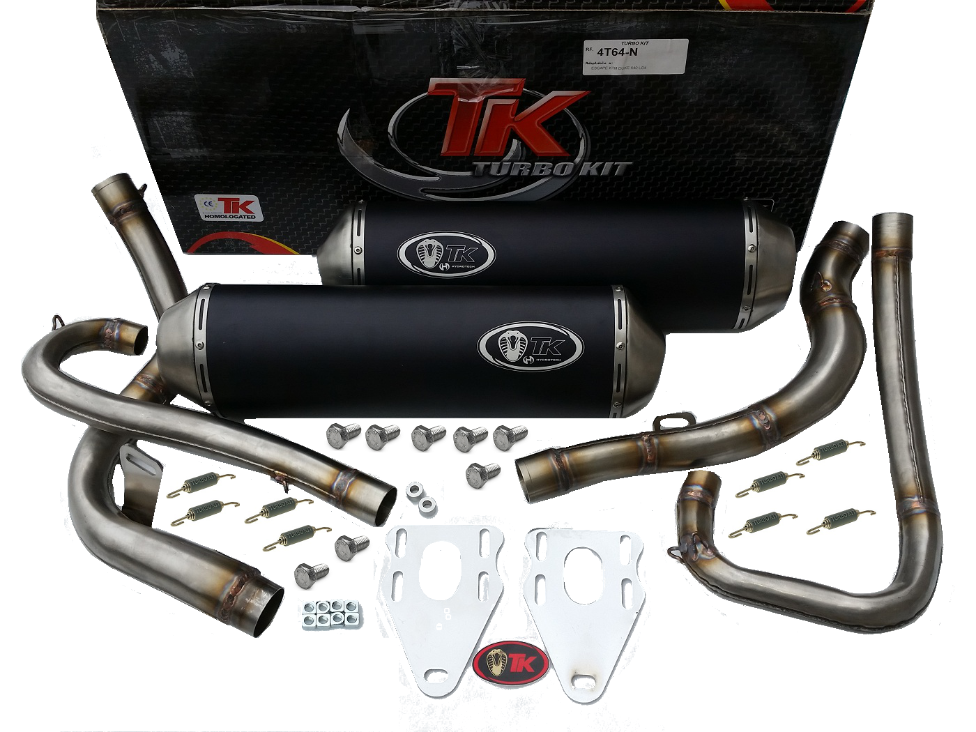 auspuff turbokit sport edelstahl double ktm duke 640 lc4 00 07 4t scooter roller teile. Black Bedroom Furniture Sets. Home Design Ideas